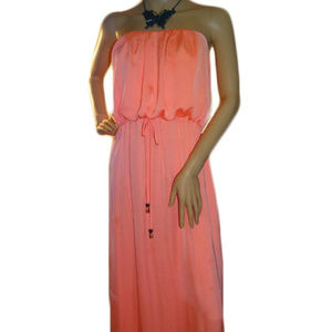 Melon Colored Strapless Dress
